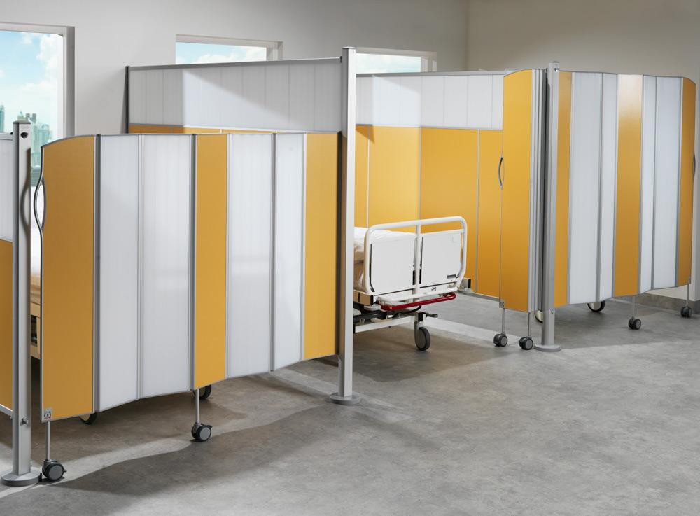 Skjermvegger til helseinstitusjoner, sykehus og offentlige miljøer.